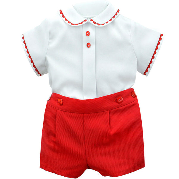BabyFerr Red & White Short Set - Arabella's Baby Boutique