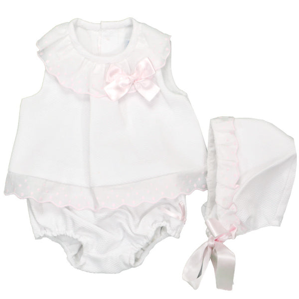 Dulce De Fresa - White Dress & Bonnet Set - Arabella's Baby Boutique