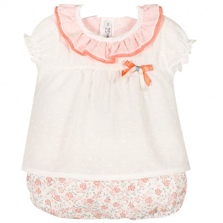 CALAMARO -  'Daisy' Peach and White Jam Pant Set - Arabella's Baby Boutique