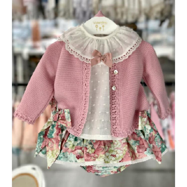 'Florence' Baby Girl's Knitted Set in Floral - Arabella's Baby Boutique