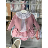 'Dolce-Pink' Baby Knitted 3 Piece Outfit - Arabella's Baby Boutique