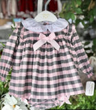Valentina Bebes Pink Check Dress - Arabella's Baby Boutique