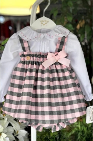 Valentina Bebes Pink Pinafore Dress Set - Arabella's Baby Boutique