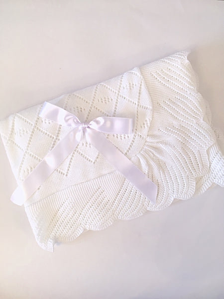 White Baby Blanket - Arabella's Baby Boutique