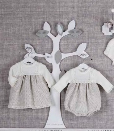 MEBI - Ivory and Grey Knitted Dress 'Catalina' - Arabella's Baby Boutique