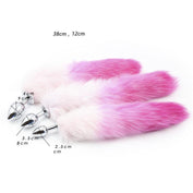 White with Pink Fox Tail 3 sizes Stainless Steel Plug