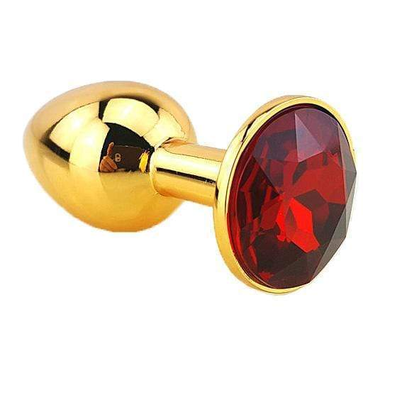 Red Jeweled Gold Plated Plug, Large