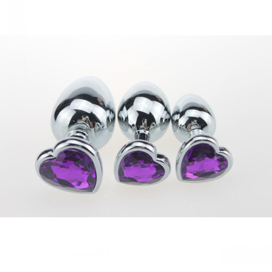 Multi-colored Jewel Heart-based Stainless steel plug