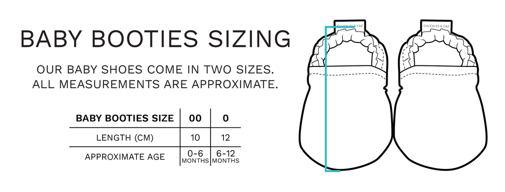 Baby Booties Sizing - Chuckles & Caz