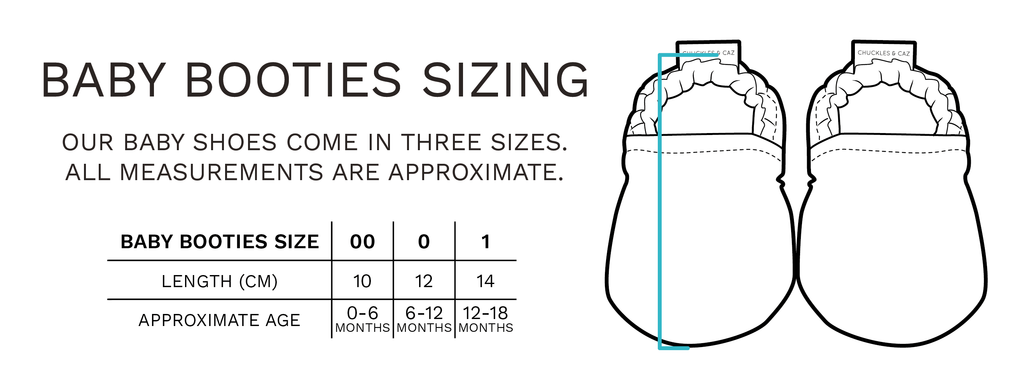 Chuckles & Caz - Baby Booties Sizing