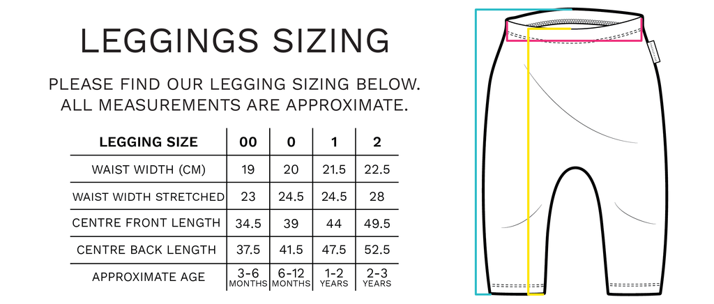 Chuckles & Caz - Legging Sizing