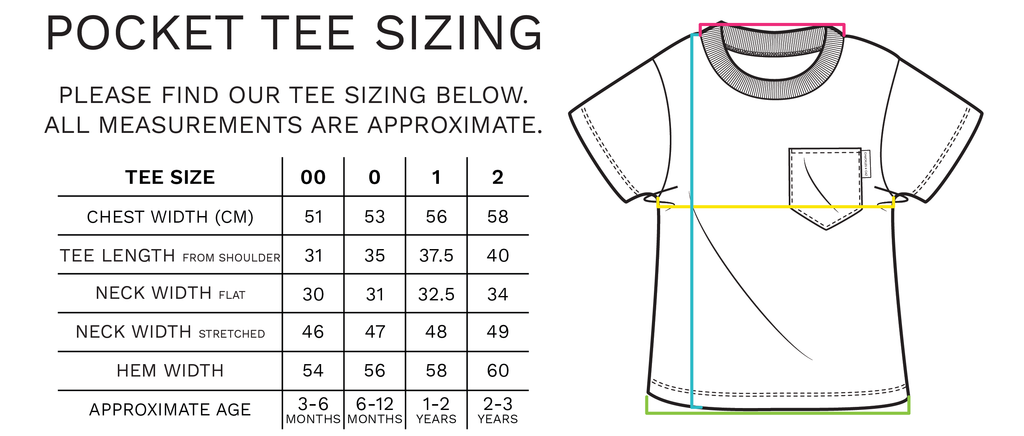 Pocket Tee Sizing - Chuckles & Caz