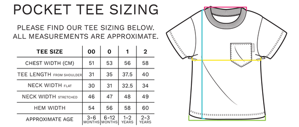Chuckles & Caz - Pocket Tee Sizing