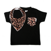 Black Tee with Leopard Pocket & matching bib - Gift Set - Chuckles & Caz
