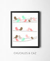 Little Coral Birds On A Wire Digital Artwork - Chuckles & Caz