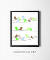 Little Green Birds On A Wire Digital Artwork - Chuckles & Caz