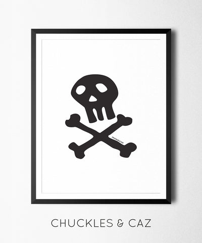 Chuckles & Caz - Skull & Crossbones in Black Digital Artwork