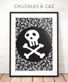 Skull & Crossbones on Skull Print Digital Artwork - Chuckles & Caz