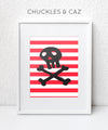 Skull & Crossbones on Stripe Digital Artwork - Chuckles & Caz
