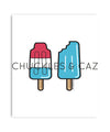 Blue Ice Blocks on White Digital Artwork - Chuckles & Caz
