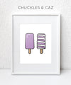 Purple Ice Blocks on White Digital Artwork - Chuckles & Caz
