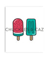 Green Ice Blocks on White Digital Artwork - Chuckles & Caz