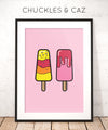 Pink Ice Blocks on Pink Digital Artwork - Chuckles & Caz