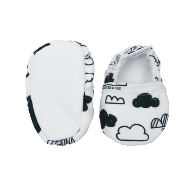 Clouds Baby Booties & matching Dribble Bib - Gift Set - Chuckles & Caz