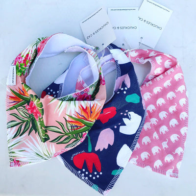 Pink Multi Hawaiian Dribble Bib - Chuckles & Caz