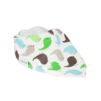 Fluro Green Bird Dribble Bib - Chuckles & Caz