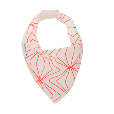 Fluro Orange Geo Lines Dribble Bib - Chuckles & Caz