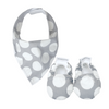 Grey Spot Baby Booties & matching Dribble Bib - Gift Set - Chuckles & Caz
