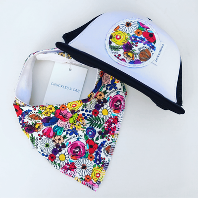 Super Floral Trucker Cap & matching Dribble Bib - Gift Set - Chuckles & Caz