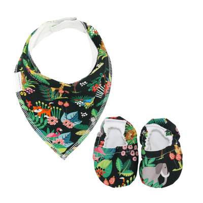 Jungle Baby Booties & matching Dribble Bib - Gift Set - Chuckles & Caz