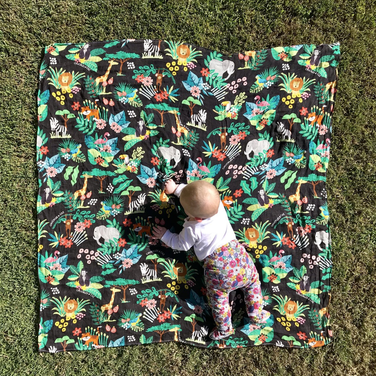 Tropical Palm / Black Reversible Tote Bag, Changing Mat & Jungle Muslin Swaddle - Gift Set
