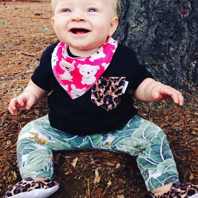 Tropical Palm Leggings & matching Dribble Bib - Gift Set