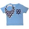 Navy & White Whales Print Pocket Tee & matching Dribble Bib - Gift Set - Chuckles & Caz