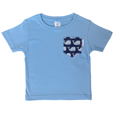 Navy & White Whales Print Pocket Tee - Chuckles & Caz