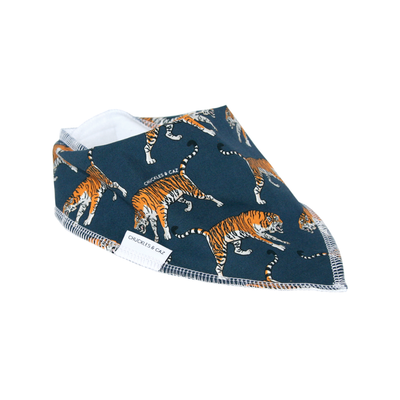 Navy Tiger Dribble Bib - Chuckles & Caz