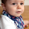Navy Feather Dribble Bib - Chuckles & Caz