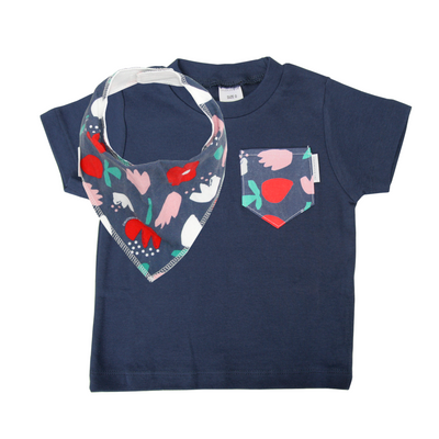 Simple Floral Print Pocket Tee & matching Dribble Bib - Gift Set - Chuckles & Caz