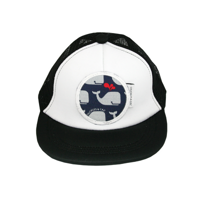 Navy and White Whales Flat Brim Trucker Cap - Chuckles & Caz