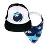 Shark Trucker Cap & matching Dribble Bib - Gift Set - Chuckles & Caz