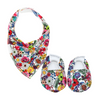Super Floral Baby Booties & matching Dribble Bib - Gift Set - Chuckles & Caz