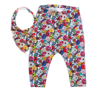 Super Floral Leggings & matching Dribble Bib - Gift Set - Chuckles & Caz