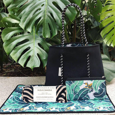 Tropical Palm / Black Reversible Tote Bag, Changing Mat & Trical Geometric  Muslin Swaddle - Gift Set
