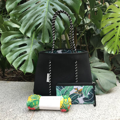 Tropical Palm / Black Reversible Neoprene Tote Bag & Yellow Hawaiian Muslin Swaddle - Gift Set