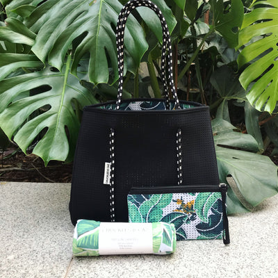 Tropical Palm / Black Reversible Tote Bag, Changing Mat & Tropical Palm Muslin Swaddle - Gift Set