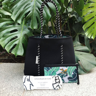 Tropical Palm / Black Reversible Tote Bag, Changing Mat & Australian Icon Muslin Swaddle - Gift Set