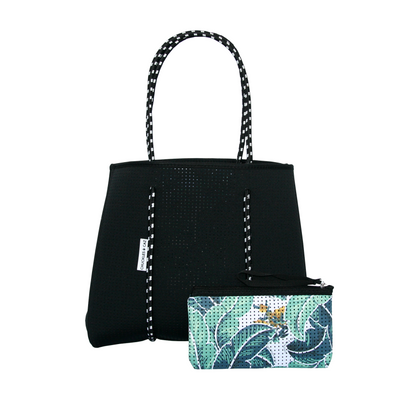 Tropical Palm / Black Reversible Tote Bag, Changing Mat & Muslin Swaddle - Gift Set